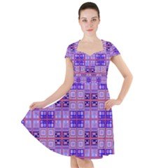 Mod Purple Pink Orange Squares Pattern Cap Sleeve Midi Dress