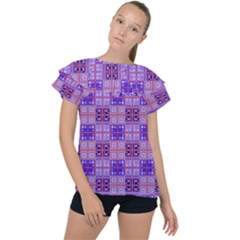 Mod Purple Pink Orange Squares Pattern Ruffle Collar Chiffon Blouse