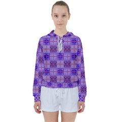 Mod Purple Pink Orange Squares Pattern Women s Tie Up Sweat