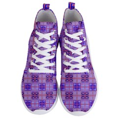 Mod Purple Pink Orange Squares Pattern Men s Lightweight High Top Sneakers