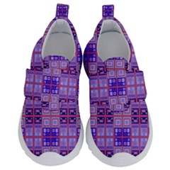 Mod Purple Pink Orange Squares Pattern Velcro Strap Shoes