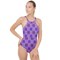 Mod Purple Pink Orange Squares Pattern High Neck One Piece Swimsuit