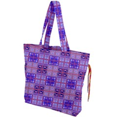 Mod Purple Pink Orange Squares Pattern Drawstring Tote Bag
