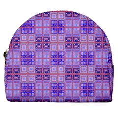 Mod Purple Pink Orange Squares Pattern Horseshoe Style Canvas Pouch