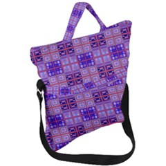 Mod Purple Pink Orange Squares Pattern Fold Over Handle Tote Bag