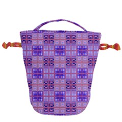 Mod Purple Pink Orange Squares Pattern Drawstring Bucket Bag