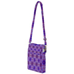Mod Purple Pink Orange Squares Pattern Multi Function Travel Bag