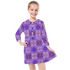 Mod Purple Pink Orange Squares Pattern Kids  Quarter Sleeve Shirt Dress