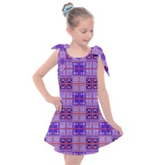Mod Purple Pink Orange Squares Pattern Kids  Tie Up Tunic Dress
