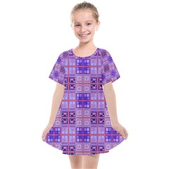 Mod Purple Pink Orange Squares Pattern Kids  Smock Dress