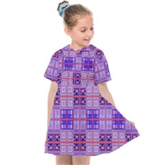 Mod Purple Pink Orange Squares Pattern Kids  Sailor Dress
