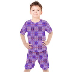 Mod Purple Pink Orange Squares Pattern Kid s Set