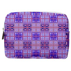 Mod Purple Pink Orange Squares Pattern Make Up Pouch (medium)