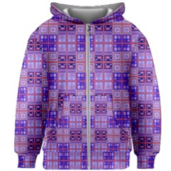 Mod Purple Pink Orange Squares Pattern Kids Zipper Hoodie Without Drawstring