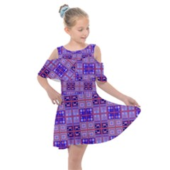 Mod Purple Pink Orange Squares Pattern Kids  Shoulder Cutout Chiffon Dress