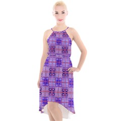 Mod Purple Pink Orange Squares Pattern High Low Halter Chiffon Dress