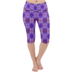 Mod Purple Pink Orange Squares Pattern Lightweight Velour Cropped Yoga Leggings