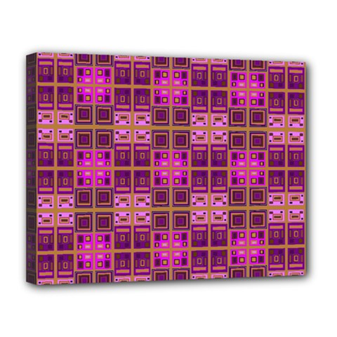Mod Pink Purple Yellow Square Pattern Canvas 14  X 11  (stretched)