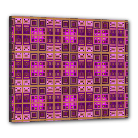 Mod Pink Purple Yellow Square Pattern Canvas 24  X 20  (stretched)
