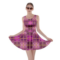 Mod Pink Purple Yellow Square Pattern Skater Dress