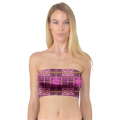 Mod Pink Purple Yellow Square Pattern Bandeau Top