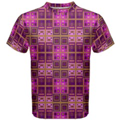 Mod Pink Purple Yellow Square Pattern Men s Cotton Tee