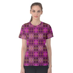 Mod Pink Purple Yellow Square Pattern Women s Cotton Tee by BrightVibesDesign