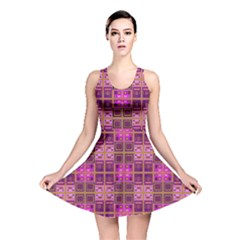 Mod Pink Purple Yellow Square Pattern Reversible Skater Dress