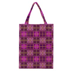Mod Pink Purple Yellow Square Pattern Classic Tote Bag
