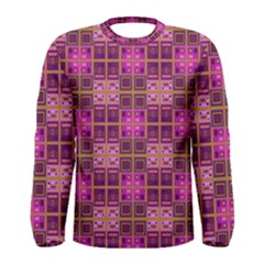 Mod Pink Purple Yellow Square Pattern Men s Long Sleeve Tee