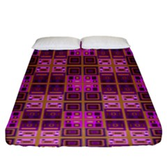 Mod Pink Purple Yellow Square Pattern Fitted Sheet (king Size)