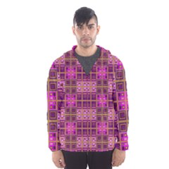 Mod Pink Purple Yellow Square Pattern Hooded Windbreaker (men)