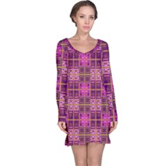Mod Pink Purple Yellow Square Pattern Long Sleeve Nightdress