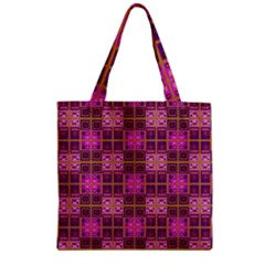Mod Pink Purple Yellow Square Pattern Zipper Grocery Tote Bag