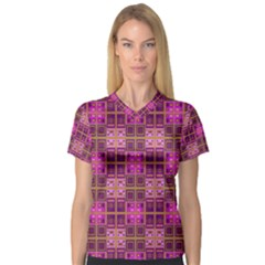 Mod Pink Purple Yellow Square Pattern V Neck Sport Mesh Tee