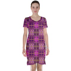 Mod Pink Purple Yellow Square Pattern Short Sleeve Nightdress