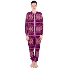 Mod Pink Purple Yellow Square Pattern Onepiece Jumpsuit (ladies)