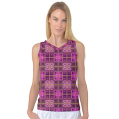Mod Pink Purple Yellow Square Pattern Women s Basketball Tank Top
