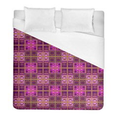 Mod Pink Purple Yellow Square Pattern Duvet Cover (full/ Double Size) by BrightVibesDesign