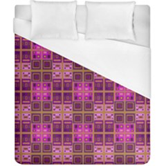 Mod Pink Purple Yellow Square Pattern Duvet Cover (california King Size)