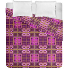 Mod Pink Purple Yellow Square Pattern Duvet Cover Double Side (california King Size)