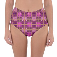 Mod Pink Purple Yellow Square Pattern Reversible High Waist Bikini Bottoms