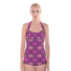 Mod Pink Purple Yellow Square Pattern Boyleg Halter Swimsuit