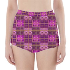 Mod Pink Purple Yellow Square Pattern High Waisted Bikini Bottoms