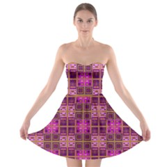 Mod Pink Purple Yellow Square Pattern Strapless Bra Top Dress