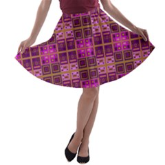 Mod Pink Purple Yellow Square Pattern A Line Skater Skirt