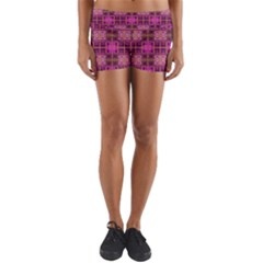 Mod Pink Purple Yellow Square Pattern Yoga Shorts