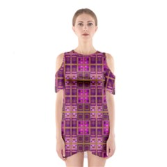 Mod Pink Purple Yellow Square Pattern Shoulder Cutout One Piece Dress