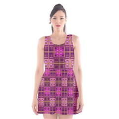 Mod Pink Purple Yellow Square Pattern Scoop Neck Skater Dress
