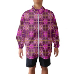 Mod Pink Purple Yellow Square Pattern Windbreaker (kids)